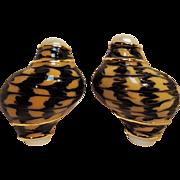 Erwin Pearl turbo shell design clip earrings enamel simulated pearl