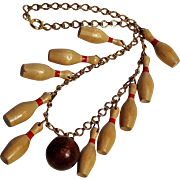 Wood bowling pin ball necklace