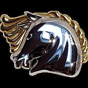 Monet horse head pin two tone