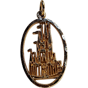 14K Gold Walt Disney castle pendant