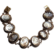 800 Silver carved abalone shell cameo bracelet