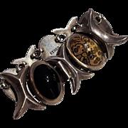Taxco sterling silver multi gemstone stone cabochon bracelet X O hug kiss design