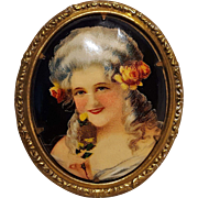 Celluloid portrait pin Victorian lady