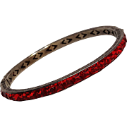 Sterling silver red channel set rhinestone Art Deco bangle 1920's
