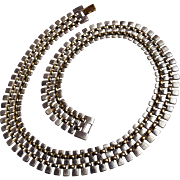 Napier silver gold tone flat link weave necklace