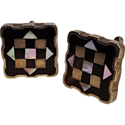 Sterling silver Mexico cufflinks PGG MOP inlay 1950's