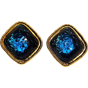 Avon Caprianti blue jelly cabochon clip earrings