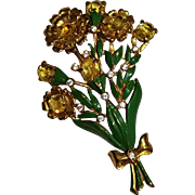 Pot metal flower pin yellow stones