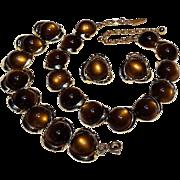 Brown moonglow insert lucite parure necklace bracelet clip earrings