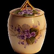 Limoges T&V biscuit jar painted violets
