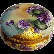 Large T&V Limoges powder jewel box violets gold lattice