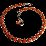 Trifari coral cabochon choker necklace