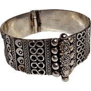 Sterling silver wide hinged bangle bracelet Middle Eastern style