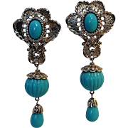 Barrera Avon earrings Elegance turquoise blue color