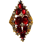 Art red glass cabochon rhinestone ring