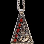 Sterling silver J. Delgarito Navajo coral pendant necklace