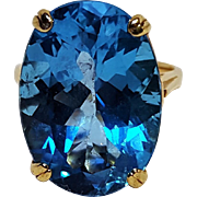 10K Gold blue topaz ring