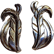 Serafin Moctezuma Taxco sterling silver Mexico feather leaf earrings