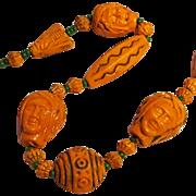 Czechoslovakia Art Deco Egyptian Revival orange glass  bead necklace