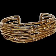 Sterling silver cuff bracelet Modernist design gilt