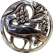 Coro sterling silver pin bird eating grapes