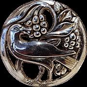 Coro sterling silver pin bird eating grapes
