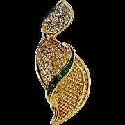 18K gold emerald diamond leaf pin pendant