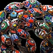 Millefiori glass bead necklace Venetian Murano