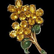 1930's Pot metal fur clip bouquet of flowers enamel
