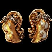 Trifari pea pod earrings screw back rhinestone simulated pearl