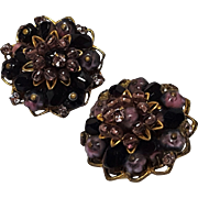 Alice Caviness clip earrings black lavender pink glass beads rhinestone