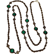 Accessocraft sautoir necklace green collet set crystals