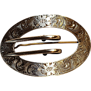 Antique sterling silver sash pin buckle motif