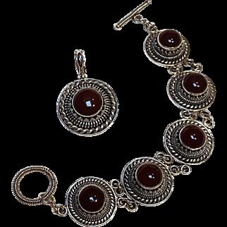 BA Suarti sterling silver carnelian bracelet and pendant set Bali style