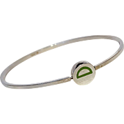 Sterling silver bangle green enamel initial letter D