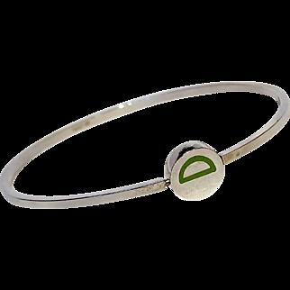 Sterling silver bangle green enamel initial letter D