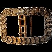 Antique silver coins buckle Netherlands East Indies 1/10 Gulden 1891