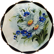 O.F. Hjortdahl Sterling silver enamel Norway pin daisies forget-me-not