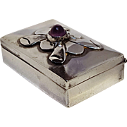 Sterling silver Mexico pillbox amethyst stone pre eagle