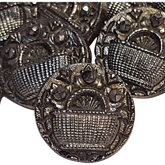 Set of 20 buttons silver luster black glass basket of flowers
