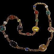 Venetian glass bead chain necklace