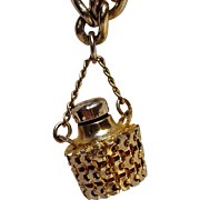 Vintage metal perfume bottle charm bracelet