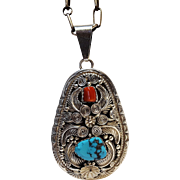 Southwest sterling silver coral turquoise pendant necklace signed J