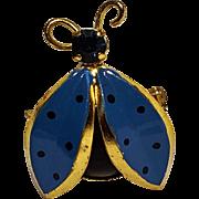 Lady bug pin blue rhinestone enamel  Austria