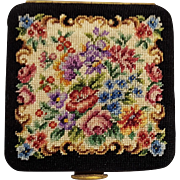 Petit point compact pocket mirror