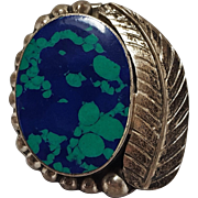 Taxco sterling silver Azurite pin pendant feather raindrops