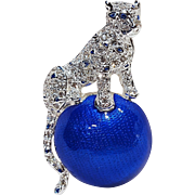 Napier blue enamel rhinestone panther on a ball pin