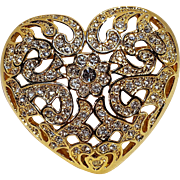 Napier rhinestone heart pin lace like openwork