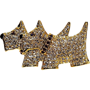 Napier rhinestone scotty dog terrier dogs pin