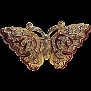 Napier rhinestone enamel butterfly pin